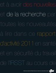 Rapport d'activité 2011 - Irsst