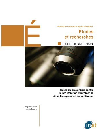 Guide de prévention contre la prolifération microbienne dans ... - Irsst