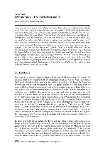Alles neu! (Offenbarung 21, 1-8; Ewigkeitssonntag II) - Institut für ...