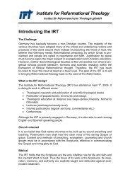 Institute for Reformational Theology - Institut für Reformatorische ...