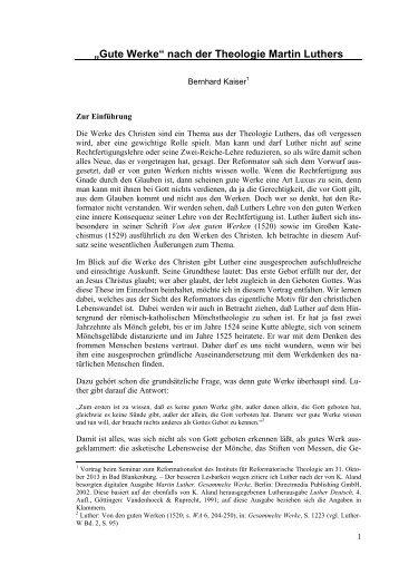 """""""Gute Werke"""" nach der Theologie Martin Luthers - Institut für ..."""