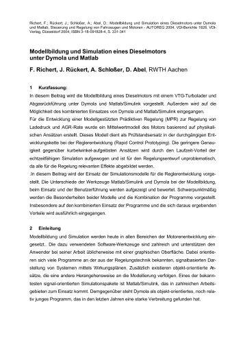 Modellbildung und Simulation eines Dieselmotors unter Dymola und ...