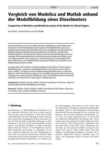 Vergleich von Modelica und Matlab anhand der Modellbildung ...