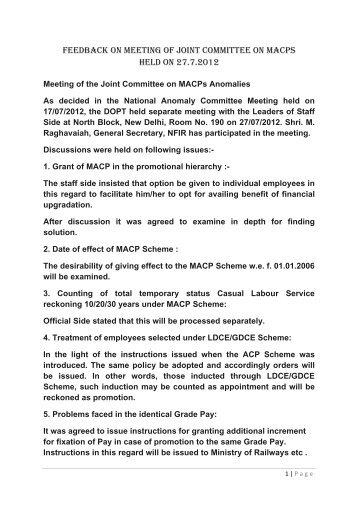 Feedback on Meeting of Joint Committee on MACPS held ... - Irtsa.net