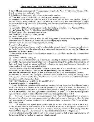 PPF Withdrawal Rules 2017
