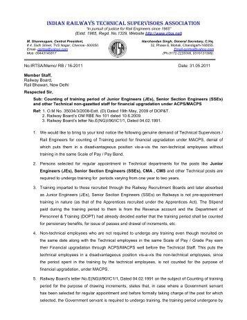 Memorandum reg Counting of training period for MACPS - Irtsa.net