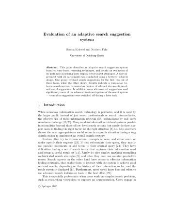 Evaluation of an adaptive search suggestion system