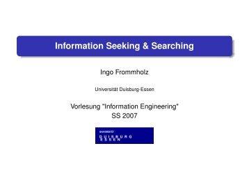 Information Seeking & Searching - Informationssysteme