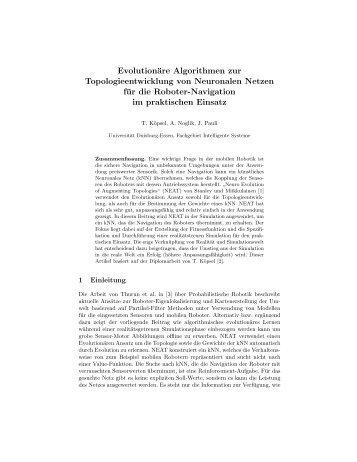 Evolutionäre Algorithmen zur Topologieentwicklung von ...