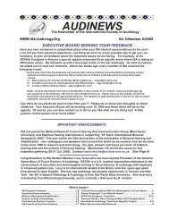 Vol. 5: 2 2005 AUDINEWS - International Society of Audiology