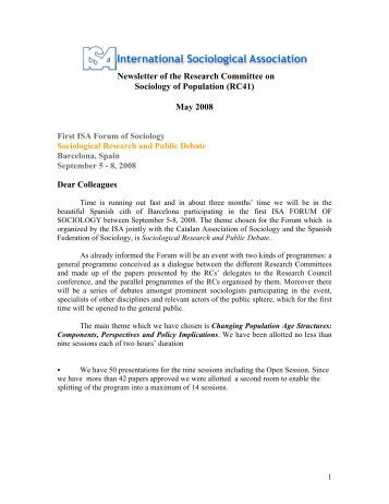 Newsletter of the Research Committee on Sociology of Population ...