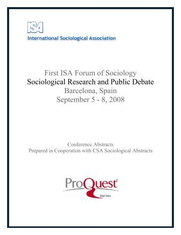 First ISA Forum of Sociology Sociological Research and Public ...