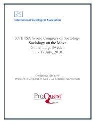XVII ISA World Congress of Sociology Sociology on the Move ...