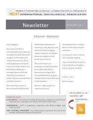 Newsletter issue 1 - International Sociological Association