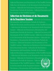 Décisions et documents de la douzième session