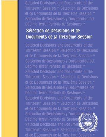Décisions et de documents de la treizième session