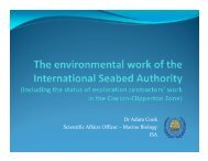 Dr Adam Cook Scientific Affairs Officer - International Seabed Authority