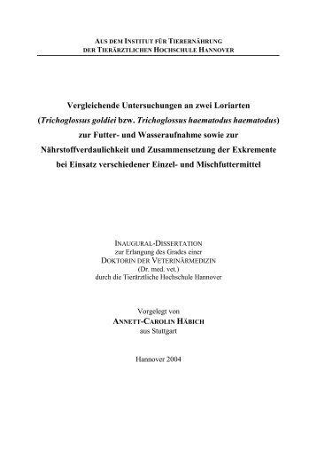Vergleichende Untersuchungen an zwei Loriarten - Tiho Bibliothek ...