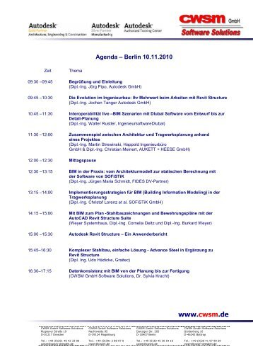 Agenda der Autodesk-Ingenieurbautage und ... - CWSM Gmbh
