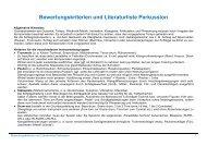 Bewertungskriterien und Literaturliste Perkussion