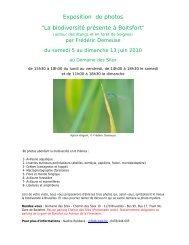 """Exposition de photos """"La biodiversité présente à Boitsfort"""""""