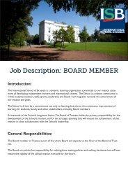 Job Description: BOARD MEMBER - International School of Brussels