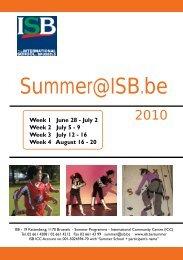 Summer 2010 programme - International School of Brussels