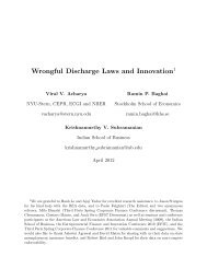 Wrongful Discharge Laws and Innovation - Indian School of Business