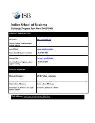 ISB Fact Sheet - Indian School of Business