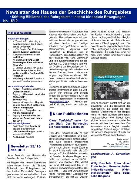 Newsletter 15 - Haus der Geschichte des Ruhrgebiets - Ruhr ...