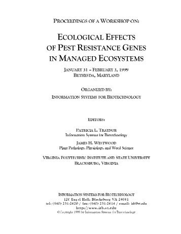 Ecological Effects of Pest Resistance Genes in Managed Ecosystems