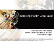 Improving Health Care Value - Institute for Strategy and ...