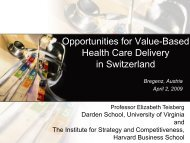 Opportunities for Value-Based Health Care Delivery in Switzerland