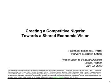 Creating a Competitive Nigeria: Towards a Shared Economic Vision