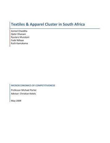 Textiles & Apparel Cluster in South Africa - Institute for Strategy and ...