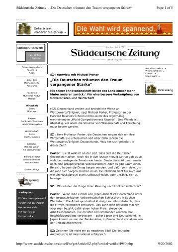 Die Deutschen träumen den Traum vergangener Stärke - Institute for ...