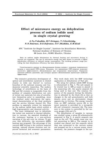 Effect of microwave energy on dehydration process of sodium iodide ...