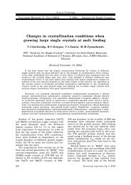 Changes in crystalli] ation conditions when growing large single ...