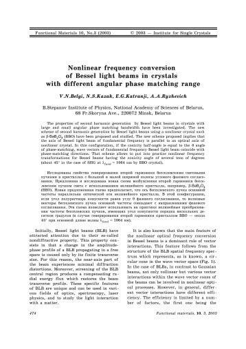 Nonlinear frequency conversion of Bessel light beams in crystals ...