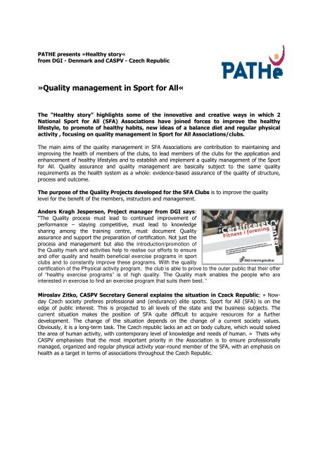 Quality management in Sport for All (PDF, 0.10 MB) - ISCA