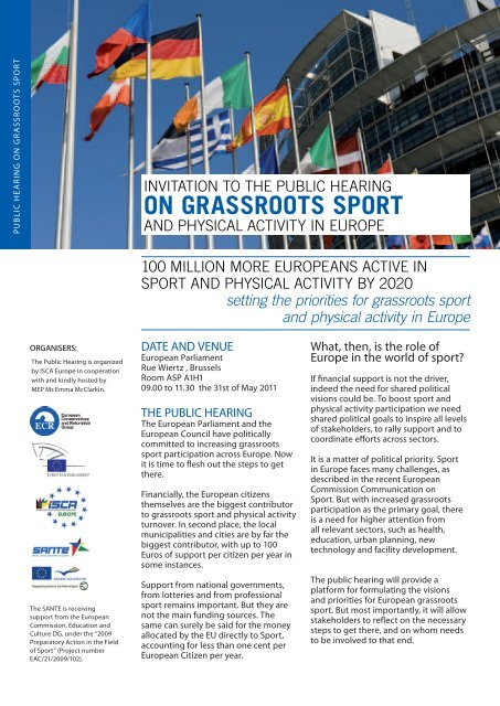 Invitation to the Public Hearing on grassroots sport 2011 - ISCA