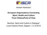 European Organisations Connecting Sport Health and Culture - ISCA
