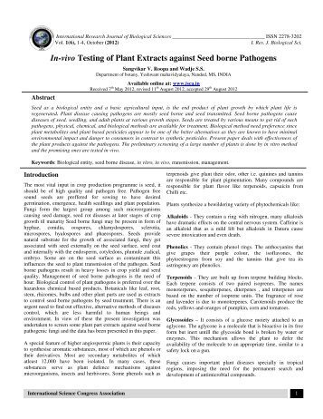 In-vivo Testing of Plant Extracts against Seed borne Pathogens - ISCA