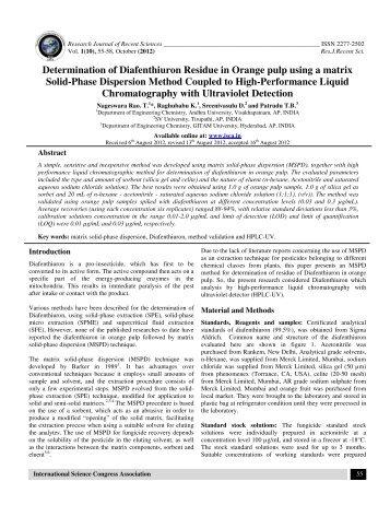 Determination of Diafenthiuron Residue in Orange pulp using ... - ISCA