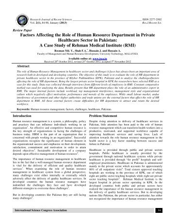 factors affecting the roles of human resource management Today, human resource management (hrm) is being renewed in organizations and gradually affirming its strategic role however, the results of an empirical study conducted by pinto and prescott [journal of management 14 (1988) 5] within a context of project management, contradict this trend.