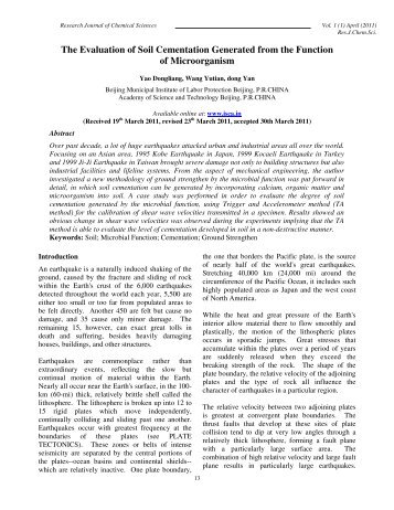 The Evaluation of Soil Cementation Generated from the ... - ISCA