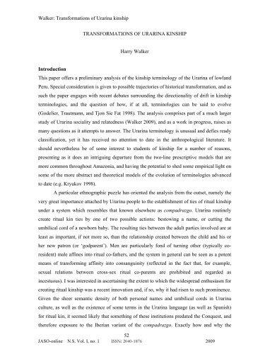 Harry Walker: Transformations of Urarina kinship - Institute of Social ...