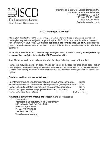 ISCD Mailing List Policy