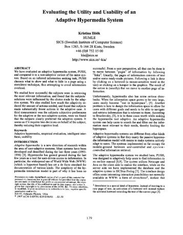 Evaluating the Utility and Usability Adaptive Hypermedia System of an