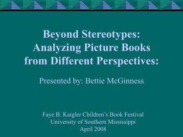 Analyzing Picture Books from Different Perspectives - School of ...